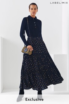 Mix/Teija Metallic Spot Tiered Skirt