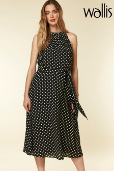 Wallis Black Spot Midi Fit And Flare Dress
