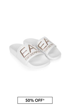 EA7 Emporio Armani Girls White Sliders