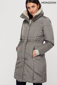 Monsoon Ladies Grey Julia Padded Coat