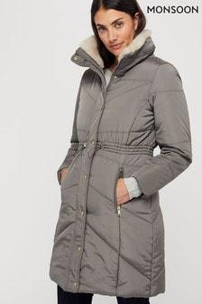 Šedý dámský prošívaný kabát Monsoon Julia