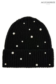 Accessorize Black Pearl Turn-Up Beanie