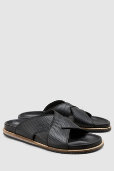 Embossed Cross Strap Sandal