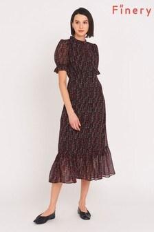 Finery Red Camile Chiffon Midi Dress