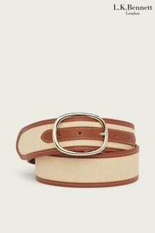 L.K.Bennett Greyson Canvas Leather Trimmed Belt