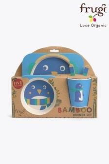 Frugi Children's 5 Piece Bamboo Dinner Set In Penguin Design