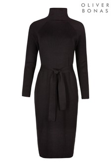 Oliver Bonas Belted Black Knitted Midi Dress