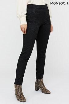 Monsoon Ladies Black Zeta Zebra Jacquard Trousers
