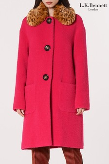 L.K. Bennett Pink Aster Faux Fur Collar Coat