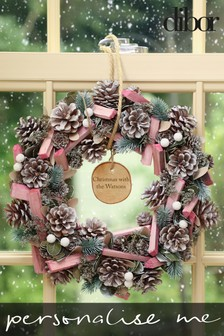 Personalised Sherbet Pine Wreath by Dibor
