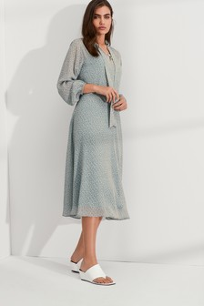 Tie Neck Long Sleeve Midi Dress