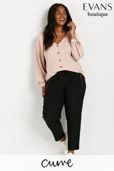 Evans Curve Crinkle Black Trousers