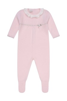Girls Pink Wool Knitted Babygrow