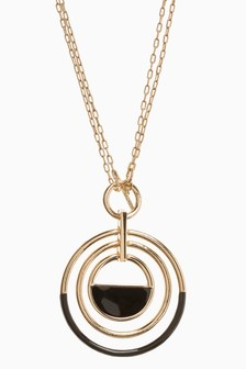 Gold Tone Black Enamel Circle Pendant Necklace