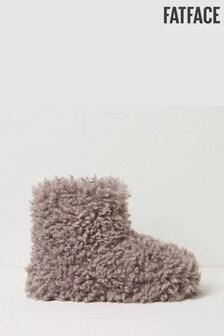 FatFace Natural Sophie Shaggy Faux Fur Slipper Boots