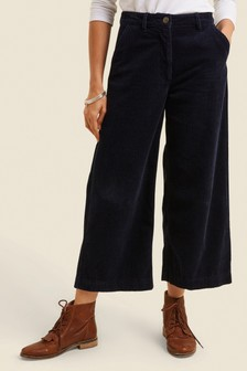 FatFace Blue Cord Wide Leg Cropped Trousers