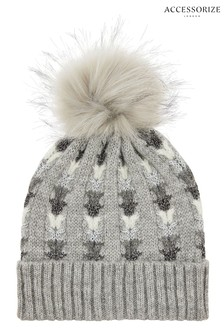 Accessorize Grey Elsa Sparkle Pom Beanie