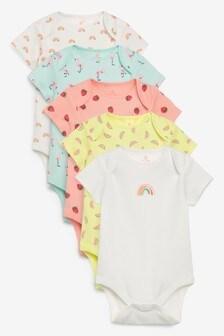 5 Pack Rainbow Character Short Sleeve Bodysuits (0mths-3yrs)