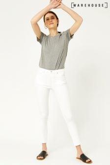 Warehouse White Crop Skinny Cut Jean