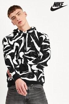 Nike Black/White All Over Swoosh Pullover Hoody