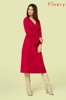 Finery London Lykke Mittellanges Kleid mit Trompetenärmeln, pink