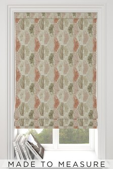 Watercolour Hexagon Terracotta Natural Made To Measure Roman Blind