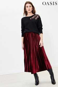 Oasis Red Velvet Pleated Midi Skirt
