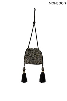 Monsoon Black Amy Animal Embellished Drawstring Bag