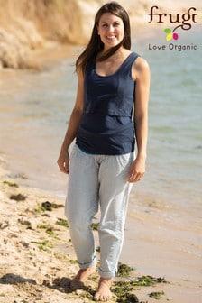 Frugi GOTS Organic Blue Seersucker Stripe Maternity Trousers