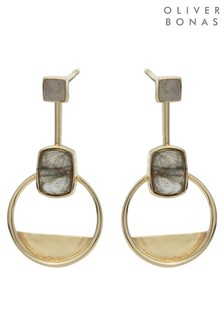 Oliver Bonas Grey Myrtle Labradorite Gold Plated Earrings