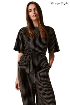 Phase Eight Black Adia Stripe Tie Top