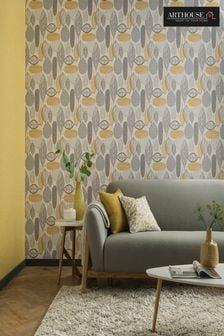 Arthouse Yellow Malmo Geo Leaves Wallpaper