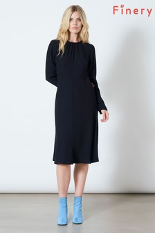 Finery London Blue Chiltern Button Detail Dress