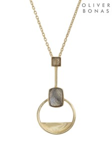Oliver Bonas Grey Myrtle Labradorite Gold Plated Necklace