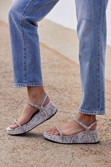 Jewelled Flatform Sandals