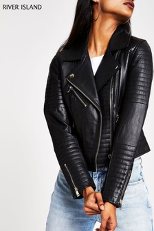 River Island Black Cato Leather Jacket