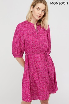Monsoon Pink Manilla Print Ecovero™ Tunic Dress