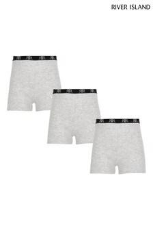 River Island Grey Marl 3 Pack Shorts