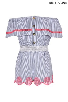 River Island Blue Stripe Neon Embroidered Bardot Playsuit
