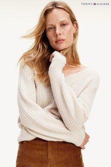 Tommy Hilfiger White Textured Stitch V-Neck Sweater