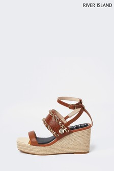 River Island Brown Chain Detail Wedge Sandals
