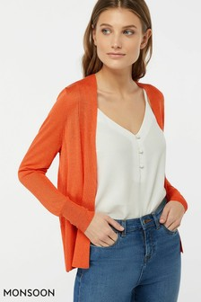 Monsoon Ladies Orange Evie Edge To Edge Linen Blend Cardigan