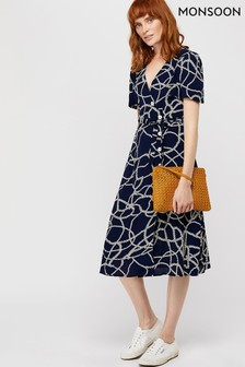 Monsoon Ladies Blue Daisy Chain Print Midi Dress