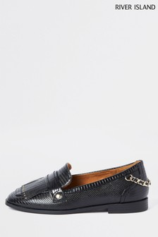 River Island Black Chain Fringing Loafers