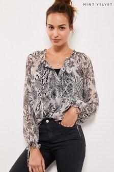 Mint Velvet Black Heidi Print Boho Blouse T-Shirt