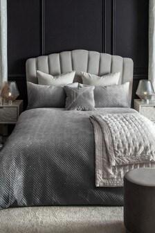 Grey Rosalie Glitter Ombre Velvet Duvet Cover and Pillowcase Set