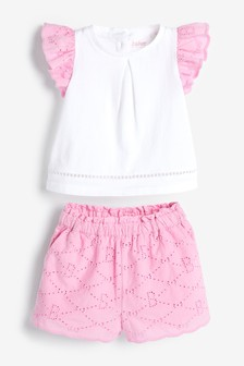 Baker by Ted Baker Pink Broderie Top And Shorts Set