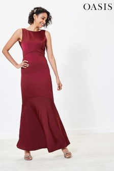Oasis Red High Neck Bridesmaid Dress