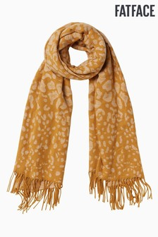 FatFace Yellow Leopard Jacquard Scarf