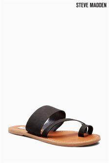 Steve Madden Black Nubuck Loop Leather Sandal